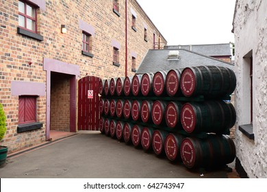 BUSHMILLS, NORTHERN IRELAND - APRIL 22: Whiskey distillery 22 April, 2017 at Bushmills. Bushmills is the most famous whiskey distillery in Northern Ireland.