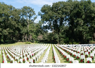 Bushnell, Florida/USA December 16 2018. Wreathes are laid in National cemeteries across the nation to honor our military heroes through a program called Wreathes Across America.