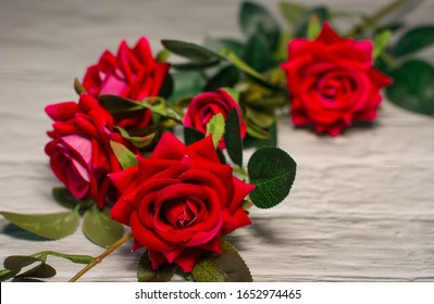 Bushy red roses on a white background. A bouquet of beautiful flowers.