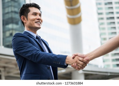 A businees man success and made an agreement for the project with his customer