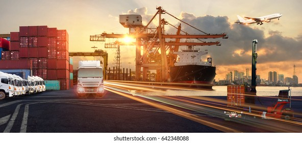 Busines Logistics concept, Logistics Industrial Container Cargo freight ship for Concept of fast or instant shipping, Online goods orders worldwide