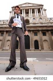 busines man outside the Bank Of England