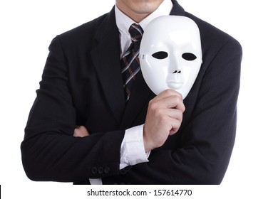 Businesman holding white mask with isolated