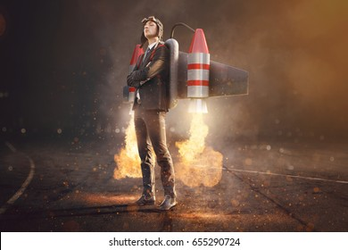 Businesman with Jetpack