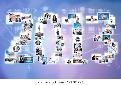 business 2013 new year concept collage businesspeople world map. International people communication