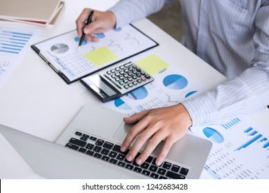 Business accountant or banker, businessman calculate and analysis with stock financial indices and financial costs wisely and carefully, investment and saving concept.