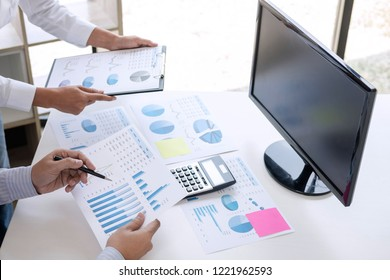 Business accountant or banker, business partner calculate and analysis with stock financial indices and financial costs wisely and carefully, investment and finance concept.