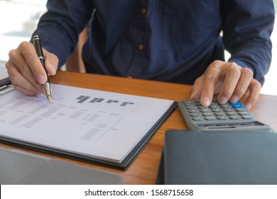 Business accountant Sitting in finance Accounting Auditor, banker, working in office.