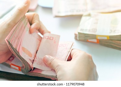 Business accounting background, Business woman hand counting money paper currency