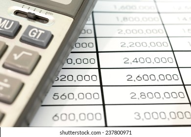business and accounting .Calculators and documents.