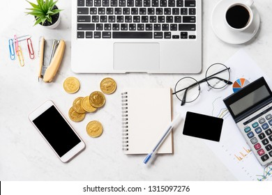 Business, accounting and payment concept with financial report data on a modern marble office table, mock up, top view, copy space, flat lay, lifestyle