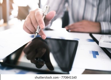 Business accounting women work with calculator and Laptop. Financial technology concept.