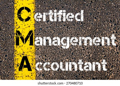 Business Acronym CMA Certified Management Accountant. Yellow paint line on the road against asphalt background. Conceptual image