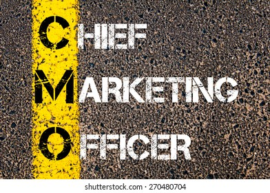 Business Acronym CMO - Chief Marketing Officer. Yellow paint line on the road against asphalt background. Conceptual image