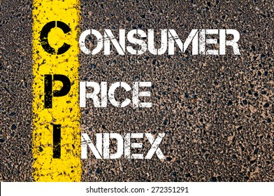 Business Acronym CPI as CONSUMER PRICE INDEX. Yellow paint line on the road against asphalt background. Conceptual image