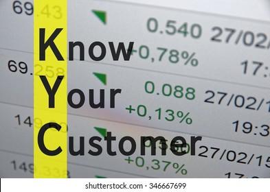 Business acronym term KYC - Know your customer