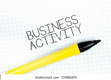 BUSINESS ACTIVITY concept write text on notebook