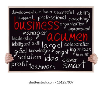 business acumen and other related words handwritten on blackboard with hands