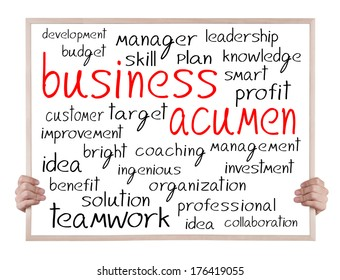 business acumen and other related words handwritten on whiteboard with hands