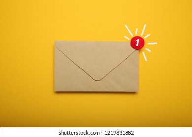 Business address communication concept, document correspondence. App.