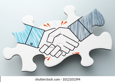 Business agreement. Handshake jigsaw puzzle pieces on reflection background. Concept image of business partnership, collaboration and corporation.