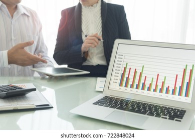 business analysis concept. financial graph and chart showing on computer screen with business analyst consult  for valuation of business.