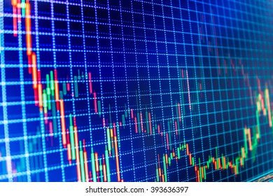 Business analysis diagram. Currency trading theme. Forex market charts on computer display. Conceptual view of the foreign exchange market. Market analysis for variation report of share price.