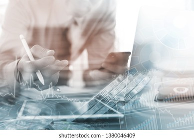 Business analysis, financial investment concept. Double exposure, businessman working on digital tablet, laptop computer analyzing financial graph, marketing report, computer dashboard and coins