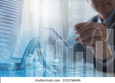 Business analysis, financial investment and technology concept. Double exposure of businessman working on tablet computer, analysing financial graph on virtual screen and office buildings in the city
