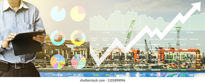 Business analysis presentation data of stock index market in industrial and construction sector shown graph and chart on construction background.