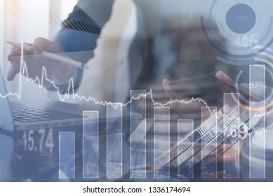 Business analysis, stock market analyzing, financial investment concept. Double exposure businessman, bank office, money and bank buildings, with financial graph on virtual screen
