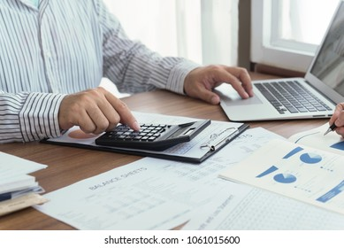 Business analyst team checking in financial statement for audit internal control system. Accounting , Accountancy Concept.
