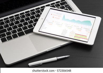 Business analytic with tablet pc and laptop computer