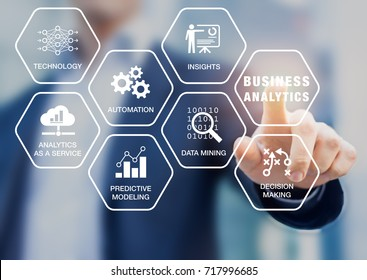 Business Analytics (BA) technology uses data mining, automation and predictive modeling for useful insights and decision making, concept with icons on a virtual screen with consultant in background