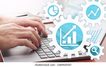 Business analytics concept. Businessman analyzing data.