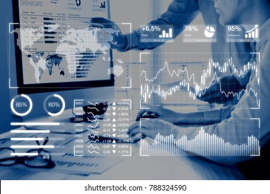 Business analytics dashboard reporting concept with key performance indicators (KPI) and two people analyzing sales or digital marketing data on computer screen in background