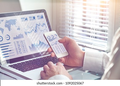 Business analytics dashboard technology on computer and smartphone screen with key performance indicator (KPI) about financial operations statistics and return on investment, office worker