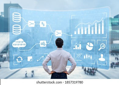 Business Analytics and Data Management System (DMS) giving key insights for corporate strategy. Concept with expert analyst building visualization with KPI and metrics from database information