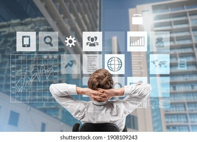 Business Analytics and Data Management System, businessman with infographic