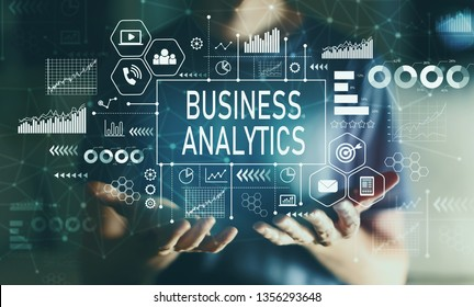 Business analytics with young man in the night