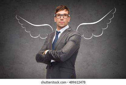 business, angel investor, safety, security and people concept - businessman with wings drawing over gray concrete background