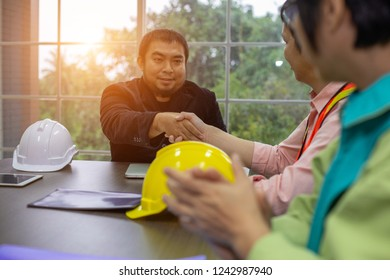 business architectural handshake between manager further stock photo