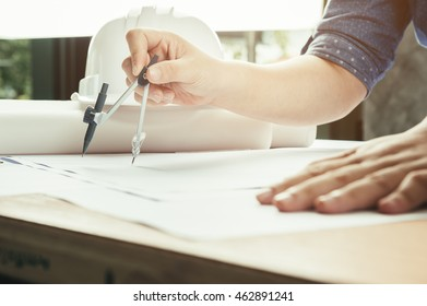 business, architecture drawing on architectural project