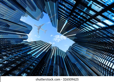 Business, architecture and real estate concept, corporate office buildings, modern high skyscrapers in downtown district of the city and plane above them