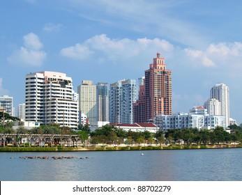 Business area buildings of Bangkok, Thailand