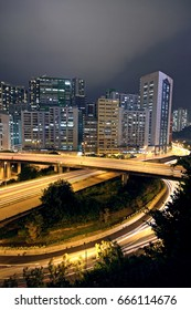 business area of hongkong at night