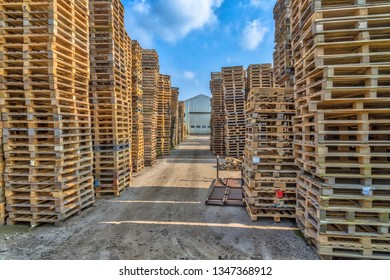 Business area with Piles of euro type cargo pallets ready for recycling