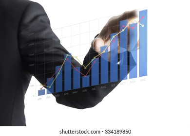 Business Asian Man Drawing Increase Graph. Business Concept