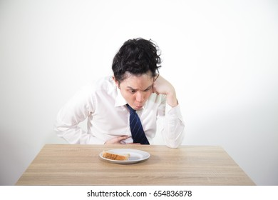 Business asian man had stomachache because of hunger, He is gastritis, isolated on white background
