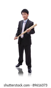 Business asian man take baseball bat with confident face